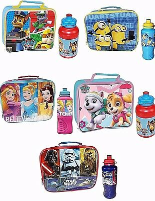 Kids Character School Boys Girls Insulated Wipe Clean Lunch Box Bag Bottle Set • 13.95£