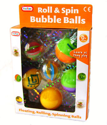 FunTime Roll Spin Floating Bubble Balls Baby Toddler Activity Toy New Boxed • 5.90£