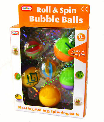 £7.95 • Buy FunTime Roll Spin Floating Bubble Balls Baby Toddler Activity Toy New Boxed