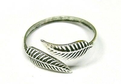 £5.39 • Buy Handmade Solid 925 Sterling Silver Feather Leaf Adjustable Toe Ring Or Midi Ring