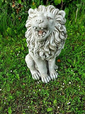 LARGE SITTING LION STATUE Stone Highly Detailed Garden Ornament Decor  • 109.99£