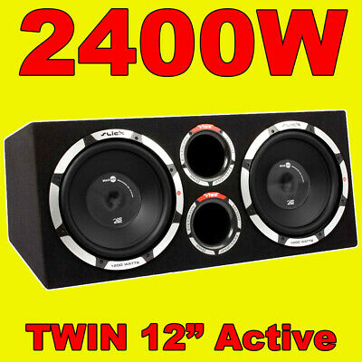 Vibe SLR 12  Twin Active Car Sub Box / Subwoofer + Amplifier/Amp Built In 2400W • 279.95£