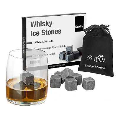 £4.99 • Buy 9pcs Whisky Ice Stones Drinks Cooler Cubes Whiskey Scotch Rocks Granite & Pouch