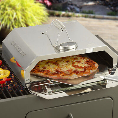 Outdoor Pizza Oven Portable BBQ Stone Base Temperature Gauge Steel Blaze Box NEW • 54.99£