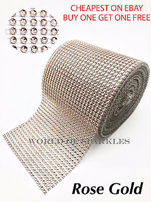 Rose Gold Rhinestones Diamante Effect Ribbon For Wedding Cake Card Trim Sewing • 1.99£