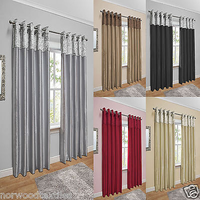 £44 • Buy Crushed Velvet Band Curtains Faux Silk Eyelet Ring Top Lined Ready Made Pair