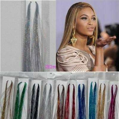 100 Strands Holographic Sparkle Hair Glitter Tinsel Extensions Dazzles 47  140CM • 1.97£