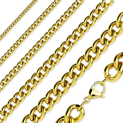 Gold Plated Stainless Steel Curb Chain Link Necklace - 16  To 19  Length • 4.19£