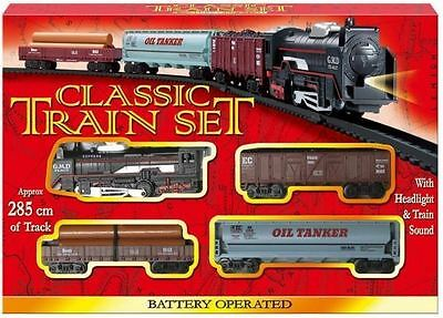Classic Battery Operated Train Set With Tracks Light Engine Children Kids Toy • 8.09£