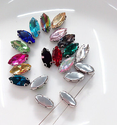 50pcs Sew On 7x15mm Navette Crystal Cabochons Cut Glass Craft DIY Gem Making  • 4.59£