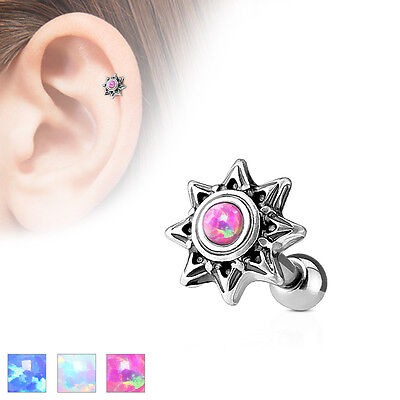 £2.99 • Buy Opal Tribal Sun 316L Surgical Steel Cartilage / Tragus Barbell