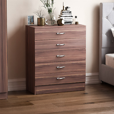 Riano Chest Of Drawers Walnut 5 Drawer Metal Handles Runners Bedroom Furniture • 54.95£