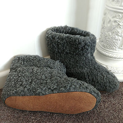 CHARCOAL Pure Sheep Wool Boots Slippers Sheepskin Suede Sole Women's Ladies Mens • 19.99£
