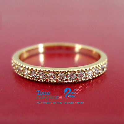 AU15.99 • Buy 9k 9ct Yellow Gold GF Solid Engagement Wedding Ring Made With Swarovski