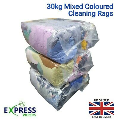 £34.99 • Buy 3 X 10 KG BAGS OF MIXED COLOURED CLEANING RAGS WIPERS WIPING CLOTHS ONLY £34.99