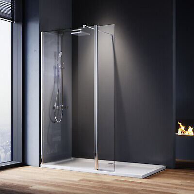 £91.99 • Buy Walk In Shower Enclosure And Tray Screen Flipper Panel Wet Room 8mm Nano Glass