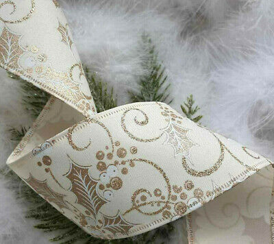 Wired Christmas Ribbon  Very Sparkly Silver Glitter Mesh 63mm X 1m Tree Gift Bow • 1.99£