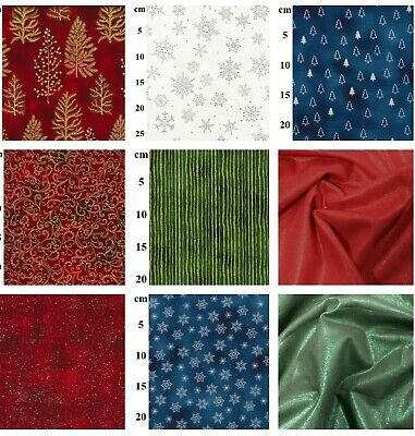 £2.99 • Buy CHRISTMAS FABRIC 100% COTTON FAT QUARTERS METRES Reindeer Holly Snowflakes Trees