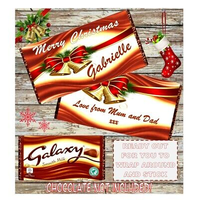 Personalised Christmas Chocolate Wrapper For Galaxy 114g **Stocking Filler** • 1£