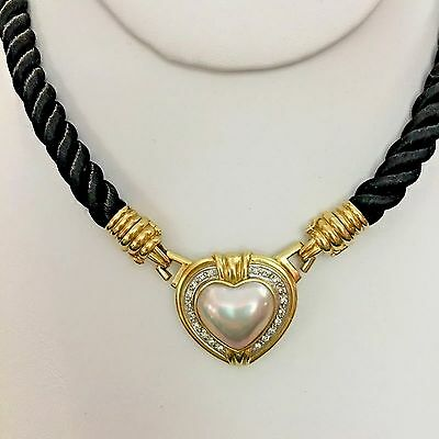$2199 • Buy 18k Yellow Gold  Diamond Heart Mabe Pearl  Cord Necklace 34.8g Italy Very Rare
