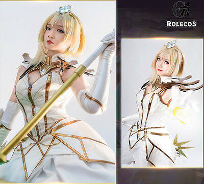 $ CDN174.62 • Buy LOL Elementalist Lux The White Dress Cosplay Costume Full Set