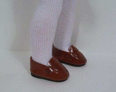 4c458eea7b66 BROWN Penny Loafers Doll Shoes   SOCKS For 14 American Girl Wellie Wishers  (Debs •