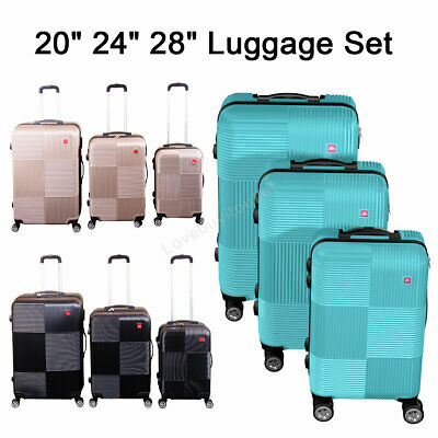 View Details Set Of 3 Premium Luggage Set ABS Trolley Suitcase 360° Spinner Wheels Lock • 95.69$