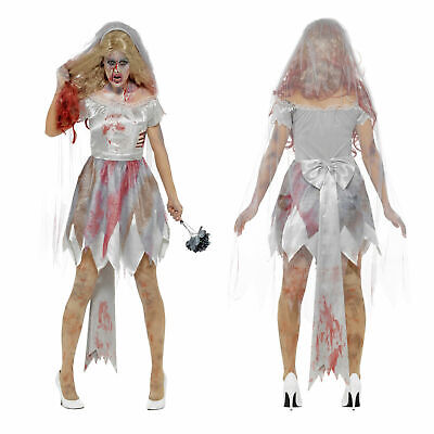Smiffys Womens Deluxe Zombie Bride Ladies Undead Halloween Fancy Dress Costume • 14.95£