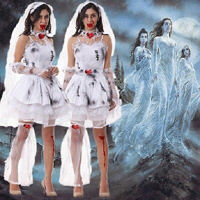 Ladies Halloween Zombie Bride Costume Corpse Ghost White Fancy Dress - Size 8-12 • 16.90£