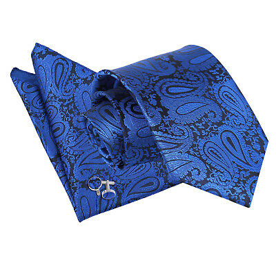 Mens Tie Hanky Cufflinks Set Floral Paisley Royal Blue Classic Skinny By DQT • 10.99£