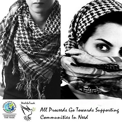 Authentic Keffiyeh Kufiya Shemagh Palestinian Head Scarf Made In Palestine White • 16.55£