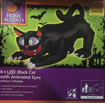 $ CDN108.88 • Buy 8' X 5' Airblown Halloween Inflatable Scary Black Cat With Animated Eyes