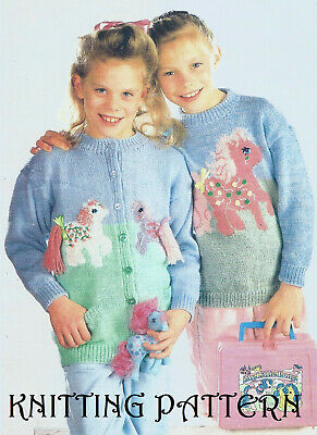 Girl's My Little Pony Cardigan And Sweater Knitting Pattern 24 -30  Chest DK 201 • 2.95£