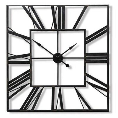£22.95 • Buy Large Outdoor Garden Wall Clock Big Roman Numerals Giant Open Face Metal Square