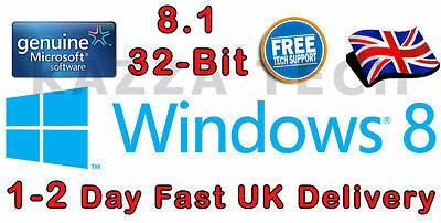 Microsoft Windows 8.1 32-bit OEM English International DVD GENUINE Full Version • 69.99£