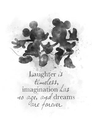 ART PRINT Mickey And Minnie Mouse Quote, Disney Wall Art Nursery Gift, B & W • 7.99£