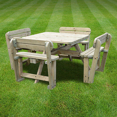 Braunston Wooden Picnic Table With Back Support -Rounded Edges - Pub Style Bench • 379.99£