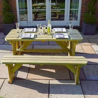 £289.99 • Buy Tinwell Rounded Wooden Picnic Bench - Wooden Outdoor Heavy Duty Garden Furniture