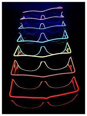 Led El Wire Neon Glowing Light Up Birthday Party Club Glasses Red Pink Blue  Lot • 5.49£