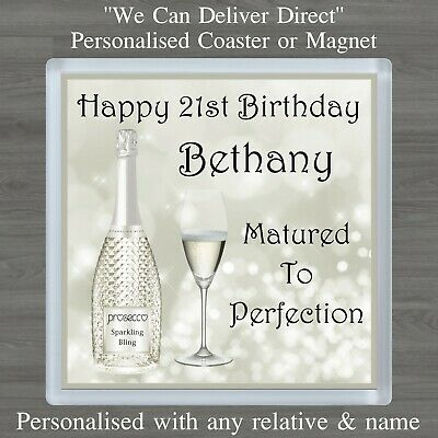 Personalised Prosecco Bling Coaster Or Magnet 18th 21st Any Age Birthday Gift • 3.25£