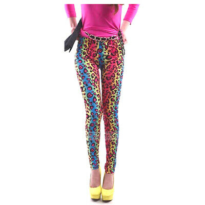 AU16.39 • Buy Ladies 80's Bright Neon Metallic Fluro Leopard Print Leggings Punk RRP $30 AUS