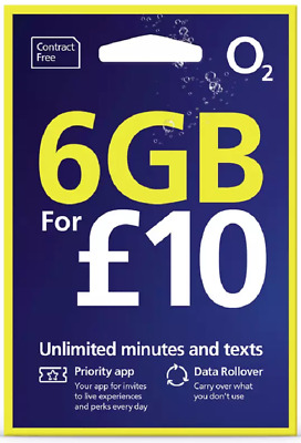 £9.88 • Buy O2 Sim Card PAY AS YOU GO £10 PRELOADED BUNDLE *Unlimited Minutes And Text / 6GB
