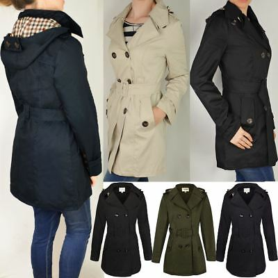 £25.99 • Buy Womens Ladies Double Breasted Mac Belted Coat Canvas Smart Jacket Trench Parka