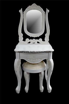 French Chateau Style Small White Dressing Table Mirror Stool Set Drawer Carved • 399£
