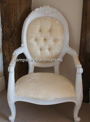£325 • Buy Louis French Style Large White & Cream Diamond  Chair Ornate Throne Free Deliver