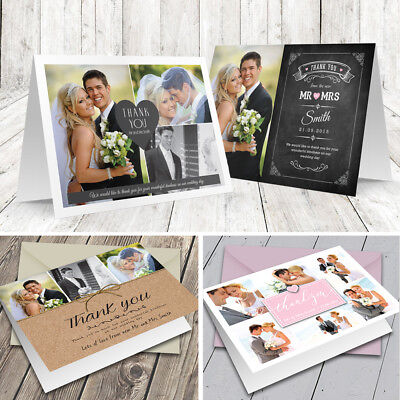 £1.99 • Buy Personalised Wedding Thank You Cards Folded With Photo + Colour Envelopes