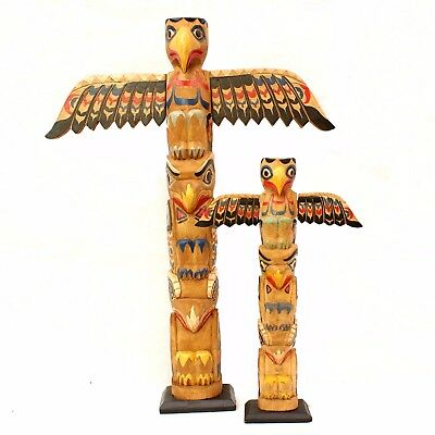 Native American Totem Pole Genuine Handcarved Winged Indian Canadian Gift Idea • 29.99£