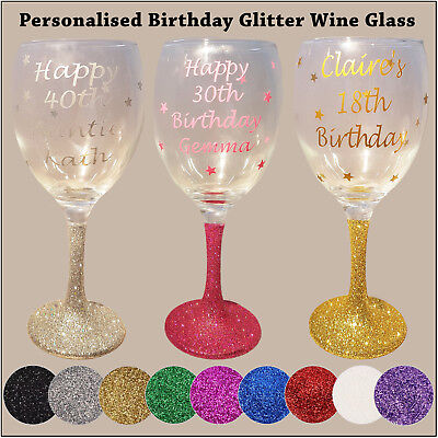 Personalised Glitter Wine Glass - Happy Birthday - 18th 21st 40th 50th Gift  • 7.49£