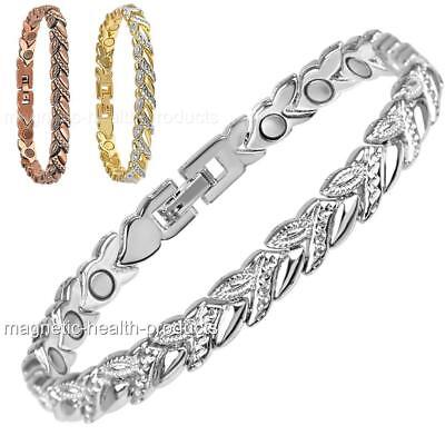 Ladies Magnetic Healing Bracelet Silver Gold Copper Bangle Arthritis Pain Relief • 9.99£