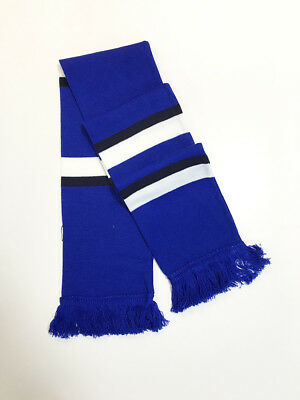Fan Football Supporter, Blue Black White Scarf *Made In England* Free Delivery* • 7.95£